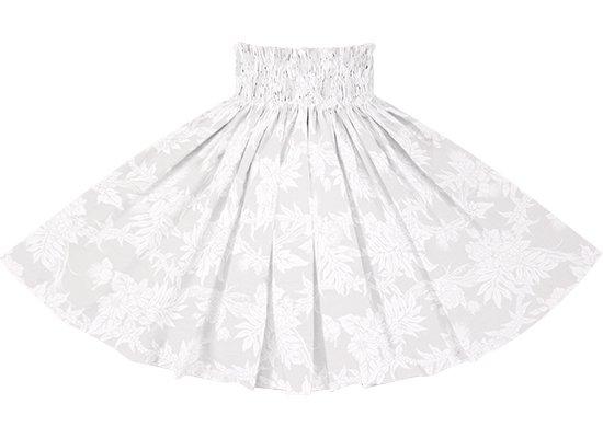 白のパウスカート モキハナ・レフア柄 spau-rm-2825WHWH 75cm 4本ゴム 【既製品】