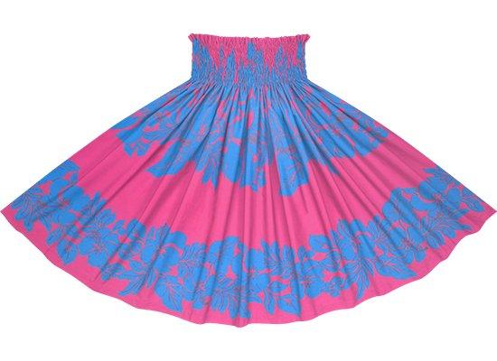 ピンクと水色のパウスカート ハイビスカス・ボーダー柄 spau-rm-2826PiAQ 75cm 4本ゴム 【既製品】
