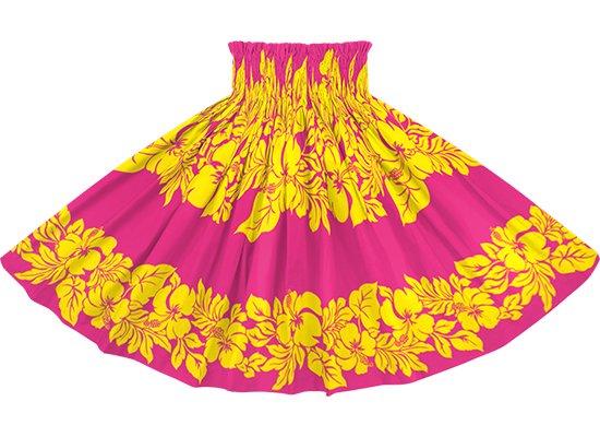 ピンクと黄色のパウスカート ハイビスカス・ボーダー柄 spau-rm-2826PiYW 75cm 4本ゴム 【既製品】