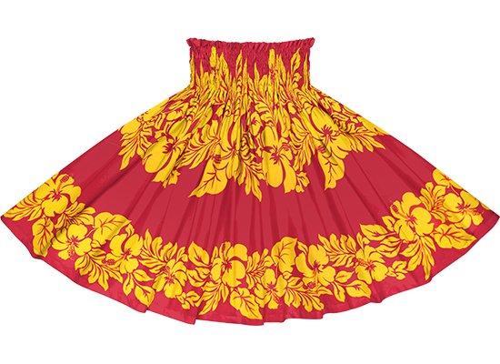 赤のパウスカート ハイビスカス・ボーダー柄 spau-rm-2826RDYW 75cm 4本ゴム 【既製品】