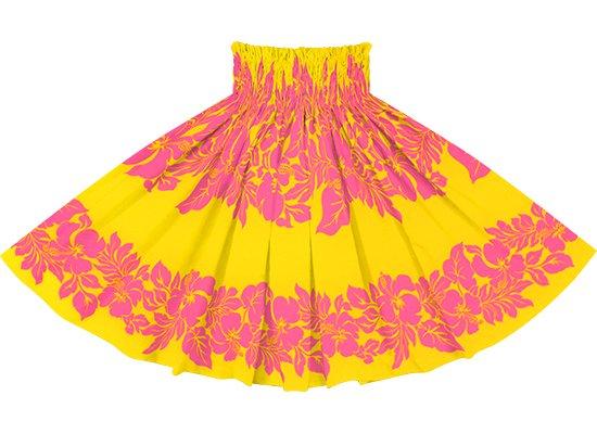 黄色のパウスカート ハイビスカス・ボーダー柄 spau-rm-2826YWPi 75cm 4本ゴム 【既製品】