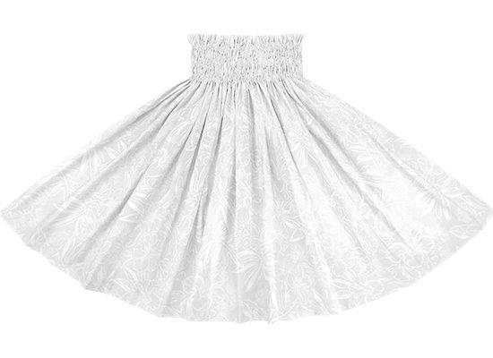 白のパウスカート ハイビスカス・ラウアエ柄 spau-rm-2829WHWH 75cm 4本ゴム 【既製品】