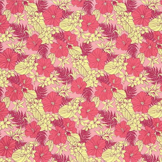 【カット生地】(3ヤード) ピンクのハワイアンファブリック ハイビスカス・リリー・パラパライ柄 fab-3y-2554PiPi 【4yまでメール便可】