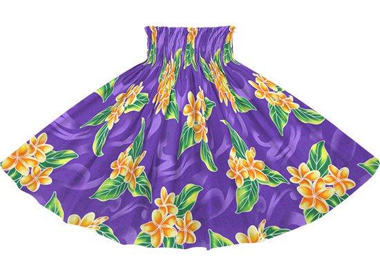 紫のパウスカート プルメリア柄 spau-rm-2809PP 77cm 3本ゴム 【既製品】