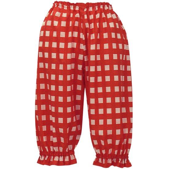 【セール品】 赤のパラカ柄 フラパンツ (カヒコパンツ CCパンツ) Mサイズ相当 hlds-palakapnt-2028RD 【既製品】【メール便可】
