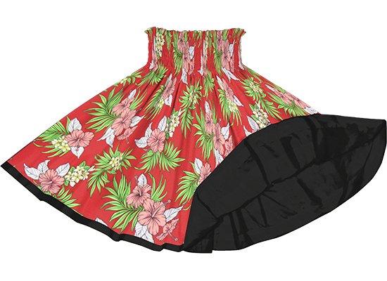 【リバーシブルパウスカート】赤のハイビスカス・プルメリア・ヤシ柄 ブラックのリバーシブル rvpau-2824BK