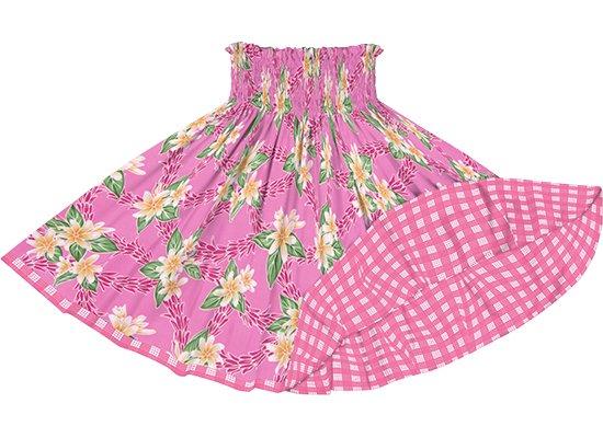 【リバーシブルパウスカート】 ピンクのティアレ・チューベローズ柄 ピンクのパラカ柄 rvpau-2827Pi