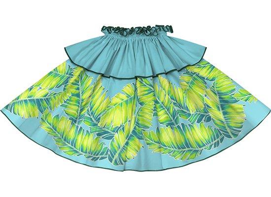 【モーハラパウスカート】 水色のバナナリーフ柄にハンターグリーンのパイピング mhpau-2814AQ