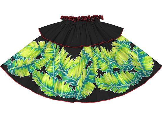 【モーハラパウスカート】 黒のバナナリーフ柄にチェリーレッドのパイピング mhpau-2814BK
