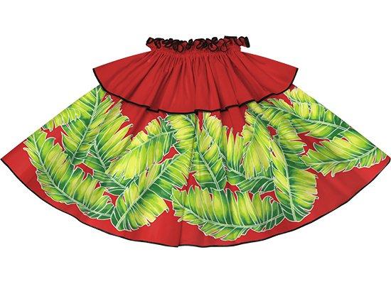 【モーハラパウスカート】 赤のバナナリーフ柄にブラックのパイピング mhpau-2814RD