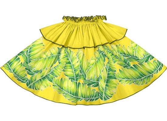 【モーハラパウスカート】黄色のバナナリーフ柄にガーデングリーンのパイピング mhpau-2814YW