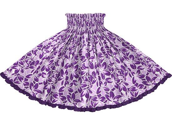 【リヒリヒパウスカート】 紫のプルメリア総柄 ブライトパープルの無地 lhpau-2817PP