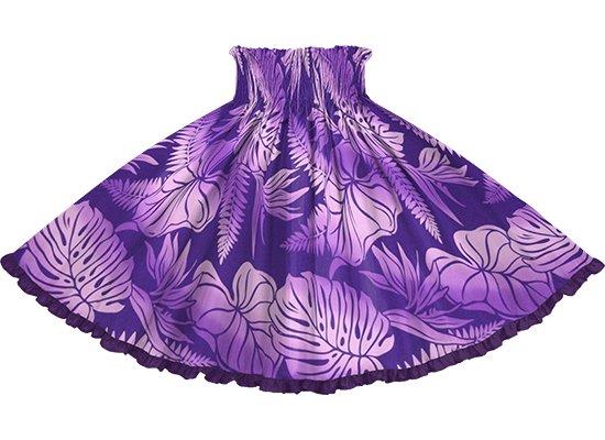 【リヒリヒパウスカート】 紫のモンステラ・タロ柄 ブライトパープルの無地 lhpau-2818PP