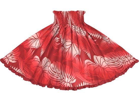 【リヒリヒパウスカート】 赤のモンステラ・タロ柄 カーディナルレッドの無地 lhpau-2818RD