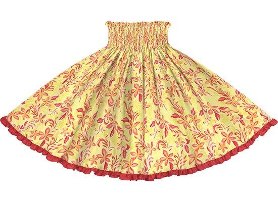 【リヒリヒパウスカート】 黄色のプルメリア柄 カーディナルレッドの無地 lhpau-2819YW