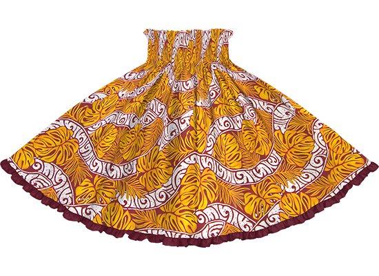 【リヒリヒパウスカート】 オレンジのモンステラ・カヒコ柄 ワインレッドの無地 lhpau-2823OR