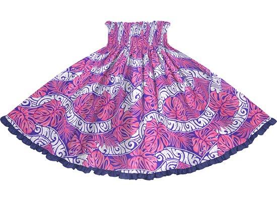 【リヒリヒパウスカート】 ピンクのモンステラ・カヒコ柄 ナイトブルーの無地 lhpau-2823Pi