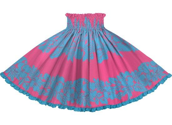 【リヒリヒパウスカート】 ピンクと水色のハイビスカス・ボーダー柄 オーシャンの無地 lhpau-2826PiAQ