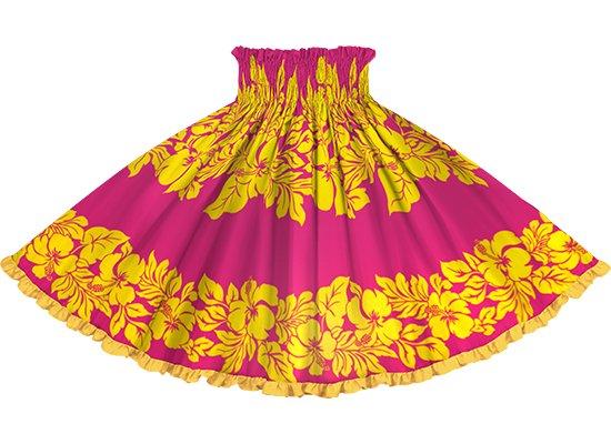 【リヒリヒパウスカート】 ピンクと黄色のハイビスカス・ボーダー柄 ゴールドの無地 lhpau-2826PiYW