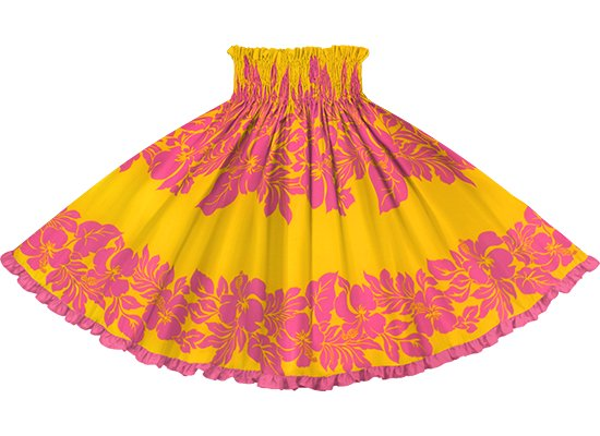 【リヒリヒパウスカート】 黄色のハイビスカス・ボーダー柄 トロピカルピンクの無地 lhpau-2826YWPi