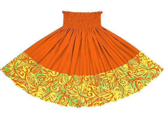 【ポエポエパウスカート】 オレンジのモンステラ・ホヌ柄とビビッドオレンジの無地 pppauL-2757ORJD