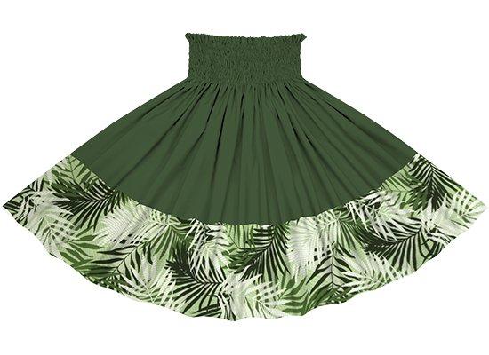 【ポエポエパウスカート】 緑のヤシ柄とモスグリーンの無地 pppauL-2789GN