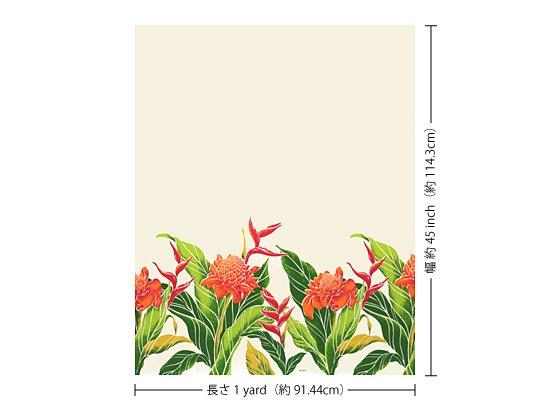 【カット生地】(1ヤード) クリーム色のハワイアンファブリック プロテア・バードオブパラダイス柄 fab-1y-2627CR 【4yまでメール便可】