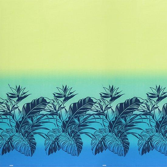 【カット生地】(1.5ヤード) 青のハワイアンファブリック モンステラ・バードオブパラダイス・グラデーション柄 fab-1.5y-2409BL 【4yまでメール便可】