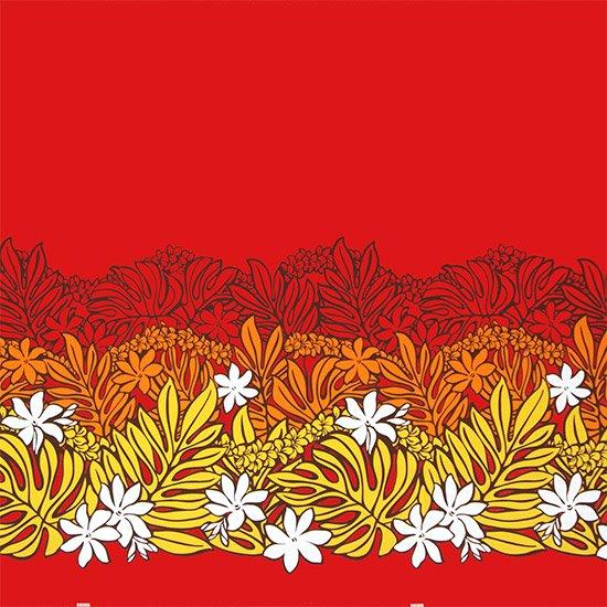 【カット生地】(1.5ヤード) 赤のハワイアンファブリック モンステラ・ティアレ柄 fab-1.5y-2561RD 【4yまでメール便可】