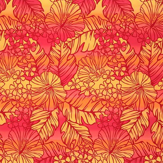 【カット生地】(1.5ヤード) 赤と黄色のハワイアンファブリック ハイビスカス・グラデーション柄 fab-1.5y-2608RDYW 【4yまでメール便可】