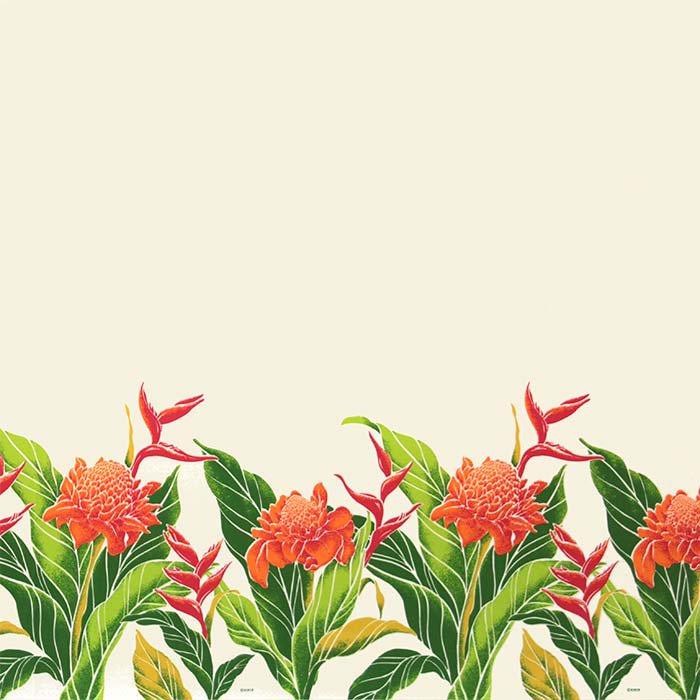 【カット生地】(1.5ヤード) クリーム色のハワイアンファブリック プロテア・バードオブパラダイス柄 fab-1.5y-2627CR 【4yまでメール便可】