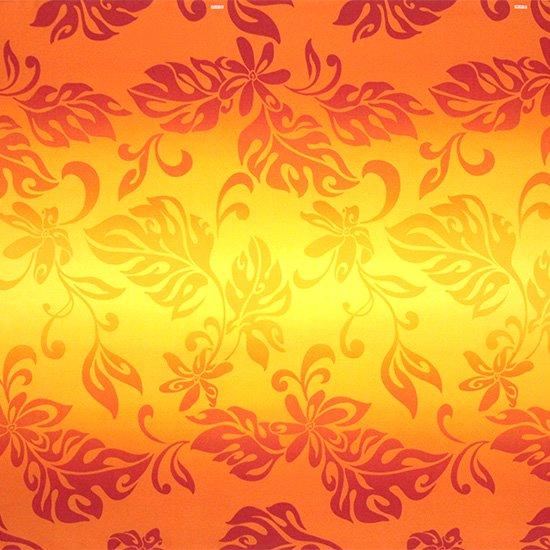 【カット生地】(2ヤード) オレンジのハワイアンファブリック ティアレ・グラデーション柄 fab-2y-2728OR 【4yまでメール便可】