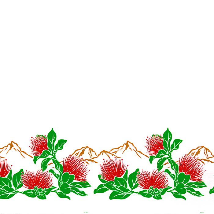 【カット生地】(2.5ヤード) 白のハワイアンファブリック レフア・ボルケーノ柄 fab-2.5y-2664WH 【4yまでメール便可】