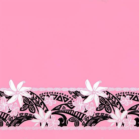 【カット生地】(3ヤード) ピンクのハワイアンファブリック ティアレ・プルメリア・タパ柄 fab-3y-2708Pi 【4yまでメール便可】