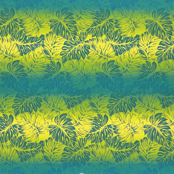【カット生地】(3.5ヤード) ヒスイ色と黄色のハワイアンファブリック モンステラ・グラデーション柄 fab-3.5y-2637JDYW 【4yまでメール便可】