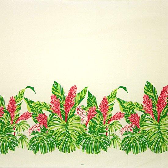 【カット生地】(3.5ヤード) クリーム色のハワイアンファブリック モンステラ・ジンジャー柄 fab-3.5y-2672CR 【4yまでメール便可】