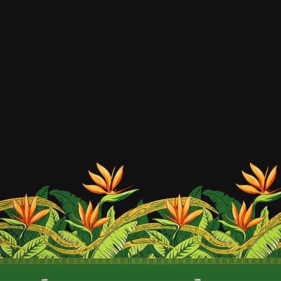【カット生地】(3.5ヤード) 黒のハワイアンファブリック バードオブパラダイス柄 fab-3.5y-2726BK 【4yまでメール便可】