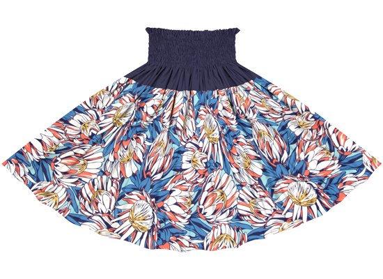 【蔵出し】【切り替えパウスカート】 青とオレンジのプロテア柄とネイビーの無地 ykpau-2781BLOR