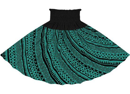 【蔵出し】【切り替えパウスカート】 ヒスイ色のタパ・カヒコ柄とブラックの無地 ykpau-2740JD