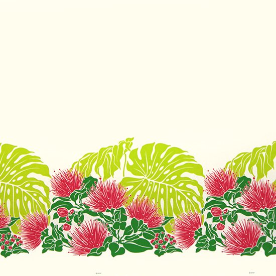 【カット生地】(1.5ヤード) クリーム色のハワイアンファブリック レフア・モンステラ柄 fab-1.5y-2589CR 【4yまでメール便可】