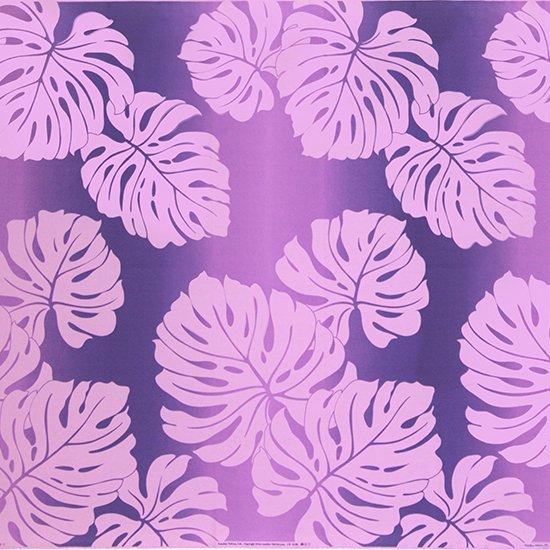 【カット生地】(1.5ヤード) 紫のハワイアンファブリック モンステラ・グラデーション柄fab-1.5y-2600PP【4yまでメール便可】