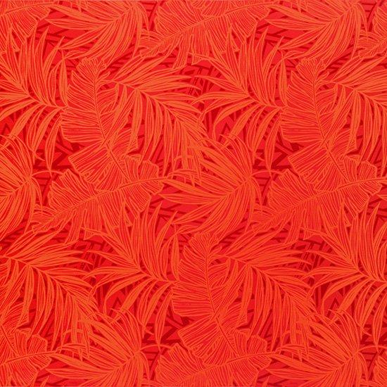 【カット生地】(1.5ヤード) 赤のハワイアンファブリック ヤシ・バナナリーフ柄 fab-1.5y-2752RDRD 【4yまでメール便可】