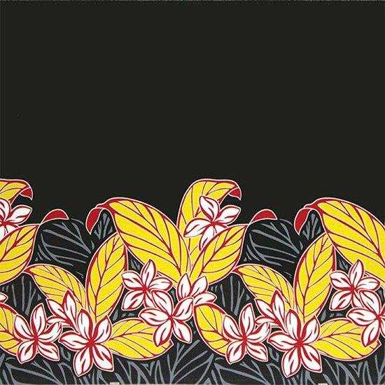 【カット生地】(2ヤード) 黒のハワイアンファブリック プルメリア大柄 fab-2y-2617BK 【4yまでメール便可】