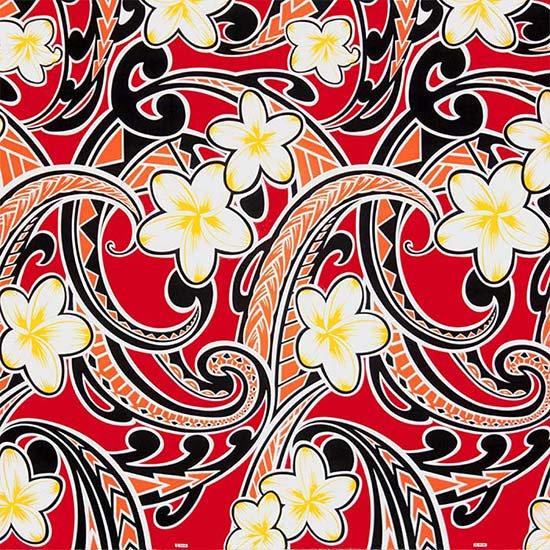 【カット生地】(2ヤード) 赤のハワイアンファブリック プルメリア・タパ柄 fab-2y-2685RD【4yまでメール便可】