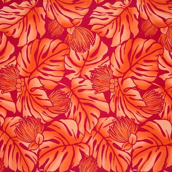 【カット生地】(2ヤード) 赤と紫のハワイアンファブリック モンステラ・レフア柄 fab-2y-2734RDPP【4yまでメール便可】