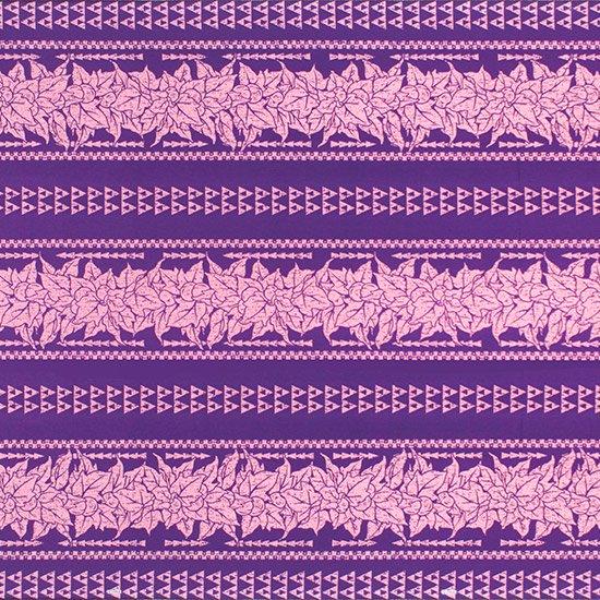 【カット生地】(2ヤード) 紫のハワイアンファブリック ククイ・カヒコボーダー柄 fab-2y-2758PP 【4yまでメール便可】
