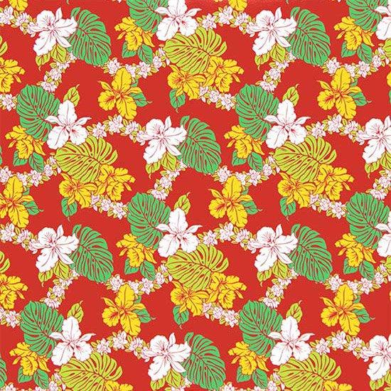 【カット生地】(3ヤード) 赤のハワイアンファブリック オーキッド・モンステラ柄 fab-3y-2574RD【4yまでメール便可】