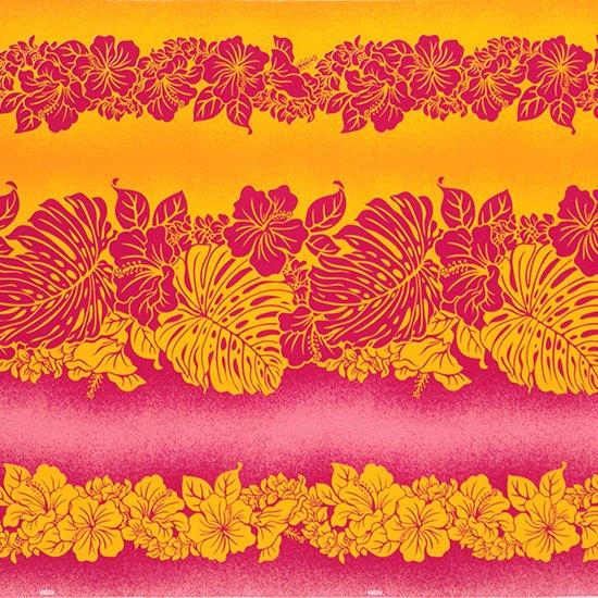 【カット生地】(3ヤード) ピンクのハワイアンファブリック ハイビスカス・モンステラ柄 fab-3y-2611Pi【4yまでメール便可】