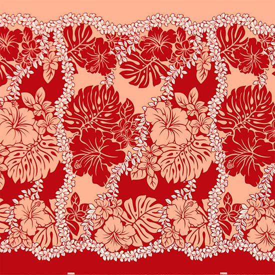 【カット生地】(3.5ヤード) 赤のハワイアンファブリック ハイビスカス・モンステラ・レイ柄 fab-3.5y-2651RD【4yまでメール便可】