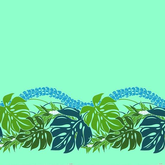 【カット生地】(3ヤード) ヒスイ色のハワイアンファブリック モンステラ・プルメリア柄 fab-3y-2767JD【4yまでメール便可】